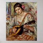 Pierre-Auguste Renoir - chica con una mandolina Posters