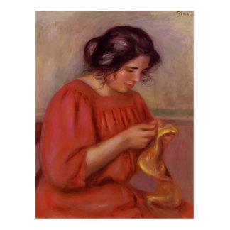 Pierre-Auguste Renoir- Gabrielle Mending Postcard