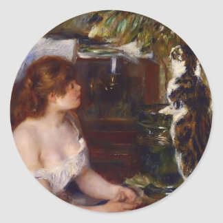 Pierre-Auguste Renoir- Girl and Cat Classic Round Sticker