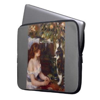 Pierre-Auguste Renoir- Girl and Cat Laptop Computer Sleeve
