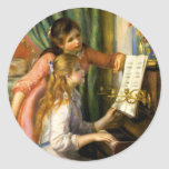 Pierre-Auguste Renoir - Jeunes Filles au Piano Round Stickers
