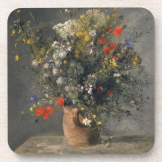 Pierre Auguste Renoir Painting, Flowers In A Vase Drink Coaster