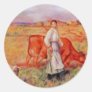 Pierre-Auguste Renoir- Shepherdess Round Sticker