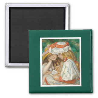 Pierre-Auguste Renoir - Two Girls Reading 2 Inch Square Magnet