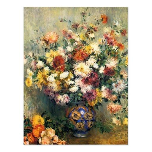 Pierre-Auguste Renoir- Vase of Chrysanthemums Post Card
