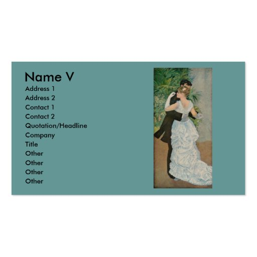 Pierre-Auguste Renoir's Dance in the Town (1883) Business Card Template