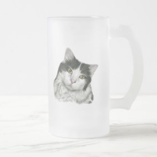 Pierre, Black and White Short-Haired Cat Frosted Glass Beer Mug