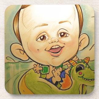 """Pierre Bossier Mall Caricature """"Boy in pool"""" Drink Coaster"""