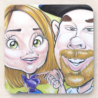 Pierre Bossier Mall Caricature Couple Dec 2012 Drink Coaster