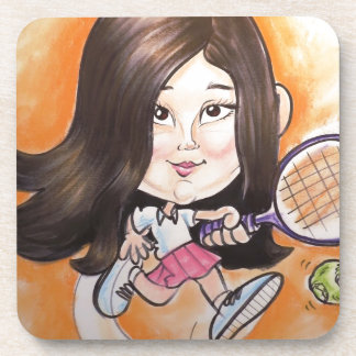 Pierre Bossier Mall Caricature Girl Playing Tennis Beverage Coaster