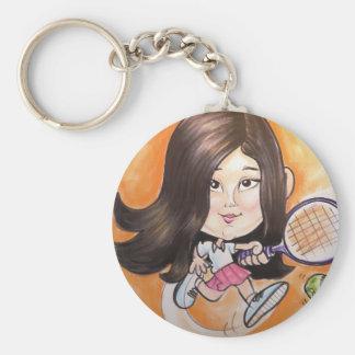 Pierre Bossier Mall Caricature Girl Playing Tennis Key Chains