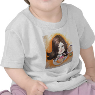 Pierre Bossier Mall Caricature Girl Playing Tennis Shirts
