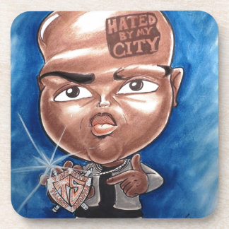 """Pierre Bossier Mall Caricature """"Hated by my City"""" Coaster"""