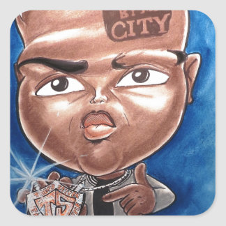 "Pierre Bossier Mall Caricature ""Hated by my City"" Square Sticker"