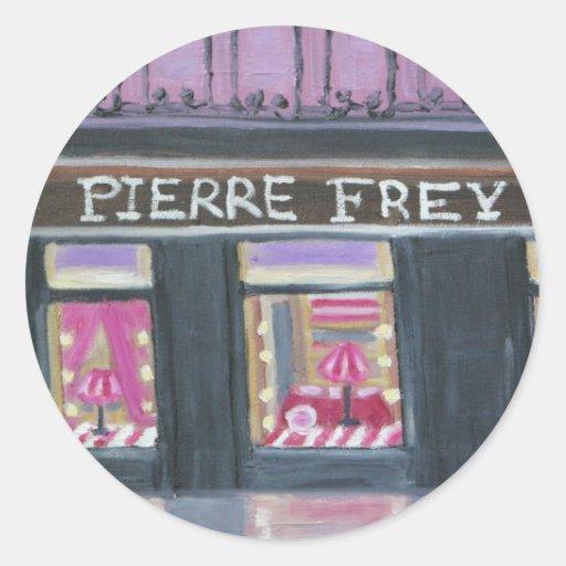 Pierre frey classic round sticker zazzle - Stickers muraux imitation pierre ...