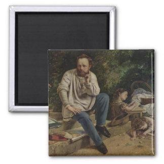 Pierre Joseph Proudhon  and his children 2 Inch Square Magnet