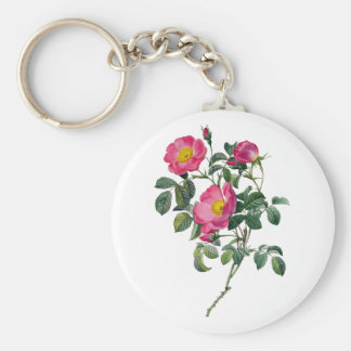 Pierre Joseph Redoute Roses Basic Round Button Keychain