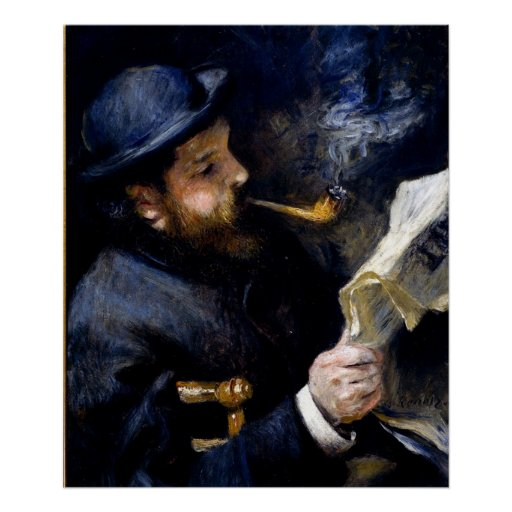 Pierre Renoir - Claude Monet Reading a Newspaper Print