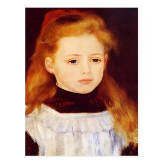 Pierre Renoir- Little Girl in a White Apron Postcard