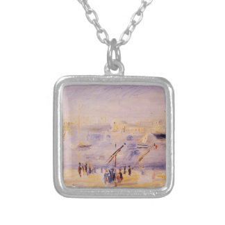 Pierre Renoir-Old Port of Marseille,People,Boats Personalized Necklace
