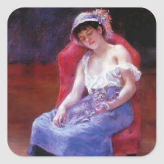 Pierre Renoir- Sleeping Girl (Girl with a Cat) Square Sticker