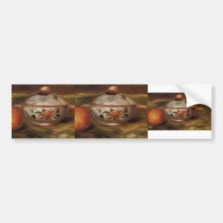 Pierre Renoir:Still Life with Orange & Sugar Bowl Car Bumper Sticker