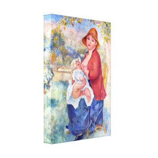 Pierre Renoir - The child at the chest maternity Canvas Prints
