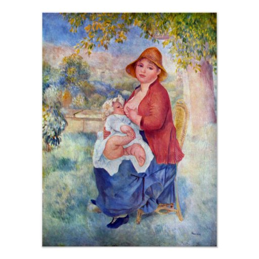 Pierre Renoir - The child at the chest maternity Poster