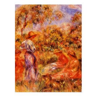 Pierre Renoir- Three Women and Child in Landscape Postcard