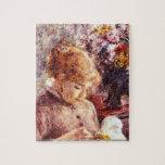 Pierre Renoir - Woman Embroidering puzzle