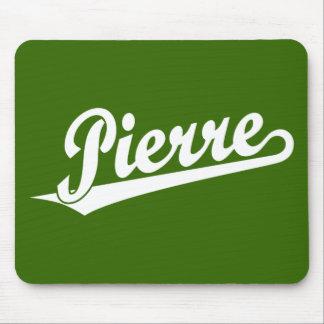 Pierre script logo in white mouse pad