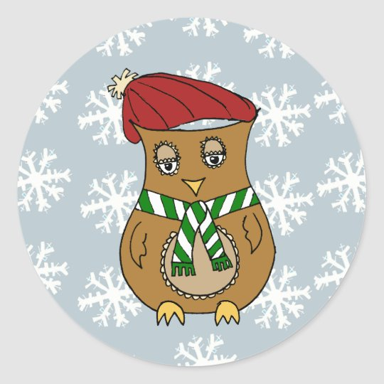 Pierre the Winter Owl Classic Round Sticker