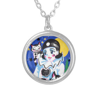 Pierrette Pierro Clown Full Moon Night Twin Cats Silver Plated Necklace