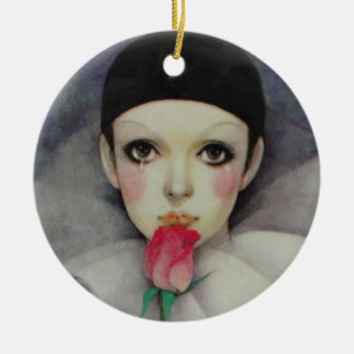 Pierrot 1980s Double-Sided ceramic round christmas ornament