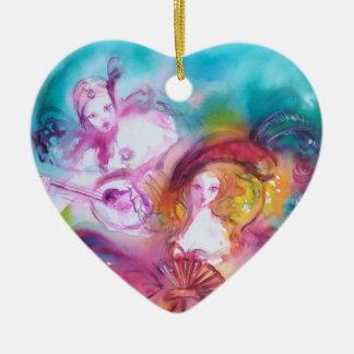 PIERROT AND ARLECCHINA / Carnival Valentine Heart Ceramic Ornament