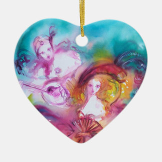 PIERROT AND ARLECCHINA / Carnival Valentine Heart Double-Sided Heart Ceramic Christmas Ornament