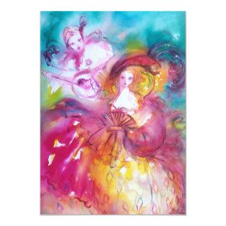 PIERROT AND ARLECCHINA Mardi Gras Masquerade Party Card