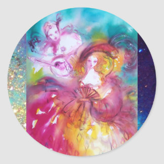 PIERROT AND ARLECCHINA Venetian Carnival, Classic Round Sticker