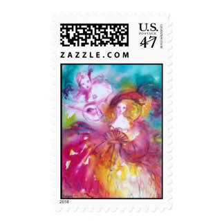 PIERROT AND ARLECCHINA Venetian Carnival, Postage Stamp