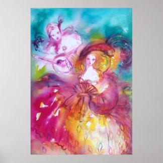 PIERROT AND ARLECCHINA Venetian Carnival, Poster