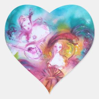 PIERROT AND ARLECCHINA Venetian Carnival, Heart Sticker