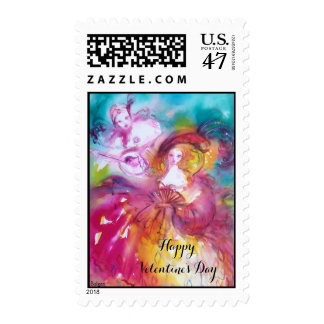 PIERROT AND ARLECCHINA Venetian Carnival,Valentine Postage Stamp