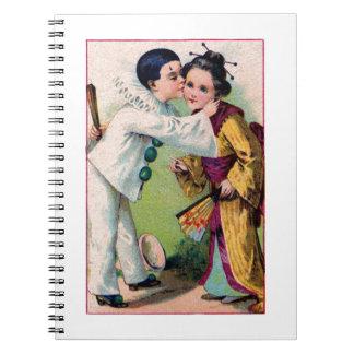 Pierrot Clown boy kissing geisha girl with kimono Journals