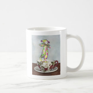 Pierrot Clown Doll Balancing on a Tea Cup