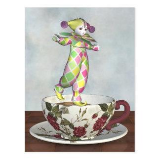 Pierrot Clown Doll Balancing on a Tea Cup Postcard