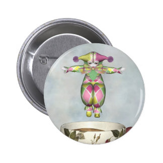 Pierrot Clown Doll Jumping into a Tea Cup Pinback Buttons