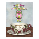Pierrot Clown Doll Jumping into a Tea Cup Post Card
