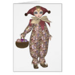 Pierrot Clown Doll with Easter Eggs Greeting Card