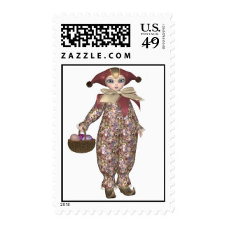 Pierrot Clown Doll with Easter Eggs Postage Stamps