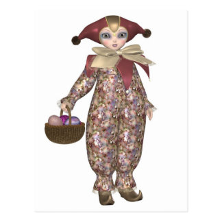 Pierrot Clown Doll with Easter Eggs Postcard